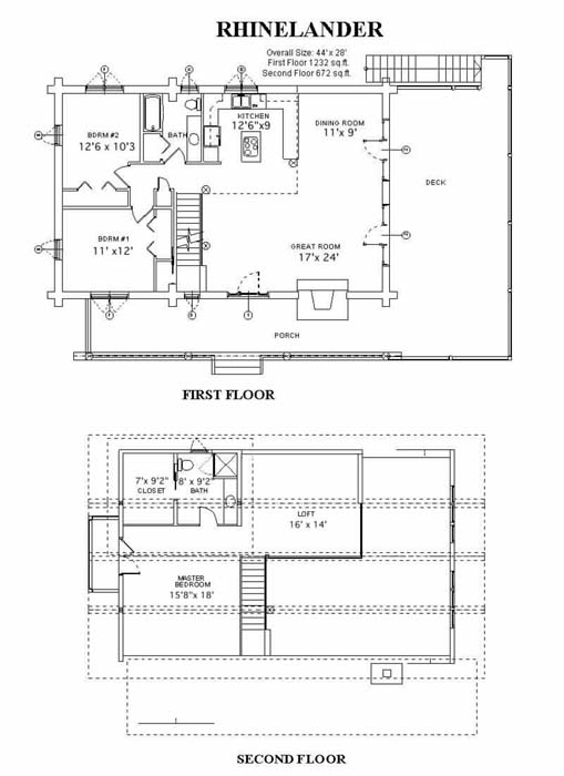 single story log home plans